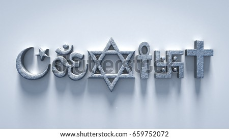 Coexist Religion Symbols 3 D Rendering Stock Illustration 659752072