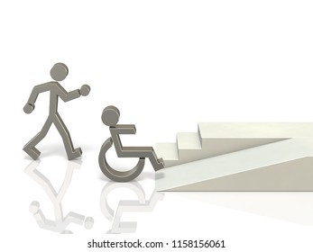 Coexistence of healthy and disabled people. It needs a social infrastructure that is easy to access. 3D illustration