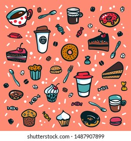 Coffee background. Colorful doodle style cartoon set of objects on coffee theme. Coffee cups and desserts on pink background. Exellent for menu design and cafe decoration. illustration