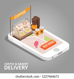 Coffee and bakery online concept. isometric smartphone with food delivery app. Coffee, donut, cake, navigation map with pin marker and buy now button on smart phone screen.