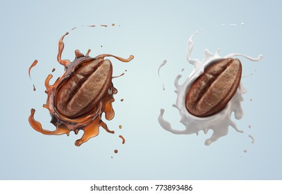 Coffee bean with coffee and Milk splash isolated on background, design for Icon or graphic element, include clipping path, 3d illustration