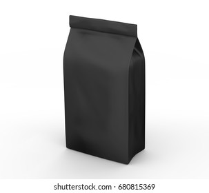Coffee bean package mockup, blank black bag template in 3d rendering isolated on white background