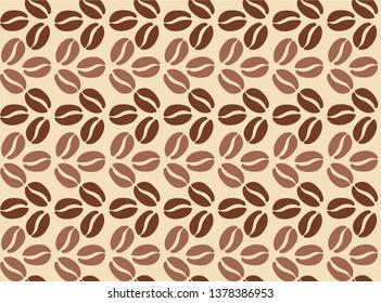 coffee bean pattern on beige background