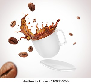 Coffee bean with splash of black coffee form White Cup, clipping path, 3d illustration.