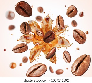 coffee bean with splash of Coffee, with clipping path, 3d illustration