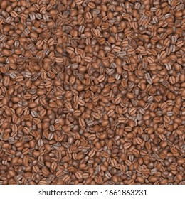 Coffee bean texture with even lighting making it seamless and tileable. 3D rendering.
