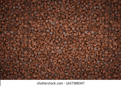Coffee bean textured background with atomosphere and copy space. 3D illustration.