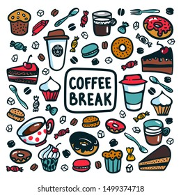 Coffee break concept. Time for a coffee break. Colorful doodle style cartoon set of objects and symbols on coffee time theme. Coffee cups and sweets on light background. Vecror illustration.
