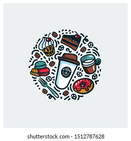 Coffee and cake concept. Colorful doodle style cartoon objects on coffee theme made in circle. Exellent for advertisments, signboards, menu and web banner designs. illustration