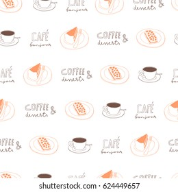 Coffee and cakes doodle seamless pattern. Hand drawn food repeated raster background. Cafe surface design