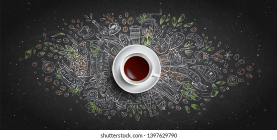 Coffee chalk illustrated concept on black board background - white coffee cup, top view with chalk doodle illustration about coffee, beans, morning, espresso in cafe, breakfast. Morning chalk coffee