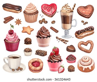 Coffee, chocolate eclair, cinnamon bun and cupcakes illustrations
