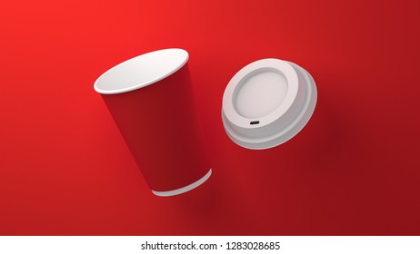 Coffee cup and cap. Red. Air. 3D. 8K