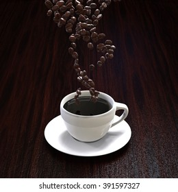 Coffee cup with falling coffee beans