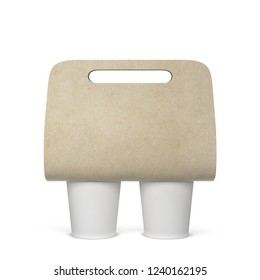 Coffee cup holder mockup. 3d illustration isolated on white background