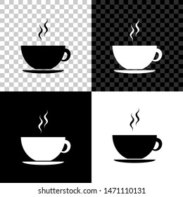 Coffee cup icon isolated on black, white and transparent background. Tea cup. Hot drink coffee