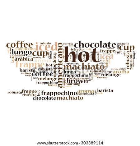 Coffee Cup Letters Typographic Composition Coffee Stock