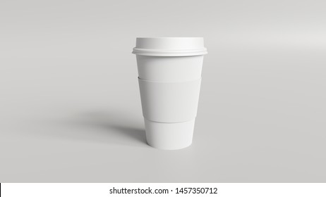 Coffee Cup mockup 3d render - Product mockup of a coffee cup with a sleeve.