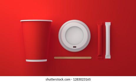 Coffee cup. Sugar stick. Wooden stick. Mockup. 3D. 8K