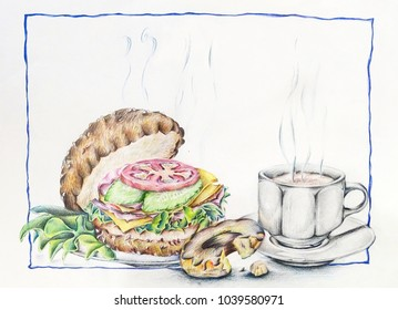 Coffee cup theme illustration with a burger and a Doughnut. A beautiful classic theme for background.