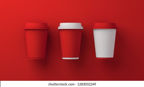 Coffee cups. Difference Color. 3D. 8K