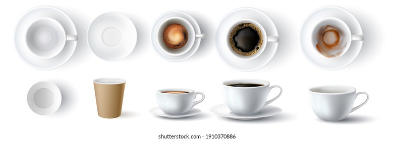 Coffee cups. Realistic 3d empty, dirty, ceramic and paper cup. Americano with foam and espresso top and side view. Coffees mockup  set. Illustration closeup cup mock up, disposable container