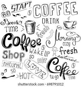 Coffee doodle background, hand drawn on white background, stock  illustration.