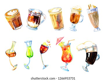 Coffee drinks and alcohol cocktails watercolor set. Hand drawn sketch illustration isolated on white background. Latte, macchiato, frappe, wine, irish coffe, limoncello, brandy