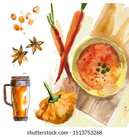 Coffee to go, in a paper cup. painted with watercolors on a white background, isolated. Sketch of the fast food, coffee, tea, breakfast,  star anise, coffee beans, pumpkin carrot soup carrots