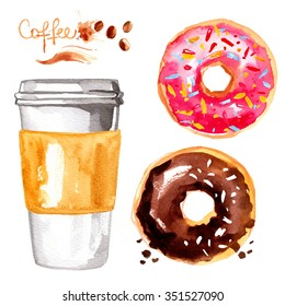 Coffee to go a paper cup painted with watercolors on white background. Sketch of food colors. Fast food, coffee, tea, breakfast. Sweets. Doughnut glaze
