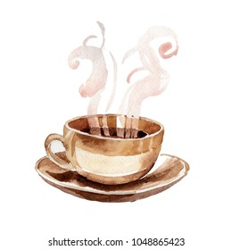 Coffee house aromatic food in a watercolor style isolated. Full name of the food: coffee grinder, coffee. Aquarelle food for background, texture, wrapper pattern or menu.