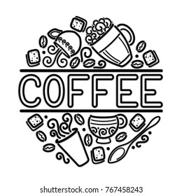 Coffee House Singboard Template with Cups, Swirl Hot Steam, Graines and Sugar. Restaurant, Cafe Label, Design Element. Doodle Style. Advertisement Flyer, Poster. Line Art Illustration