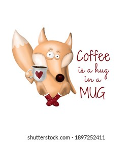 Coffee is a hug in a mug sublimation design, fox with a cup of latte, cappuchino illustration. Wake up poster for cafe. Great for printing on fabric for pajama or t shirt, coffee mugs and cups