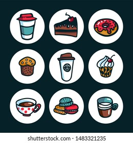 Coffee icons. Colorful doodle style cartoon set of objects on coffee theme. Coffee cups and sweets with on dark background. Exellent for menu design, stickers and apps. illustration