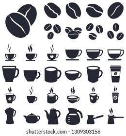 coffee icons set isolated on white background