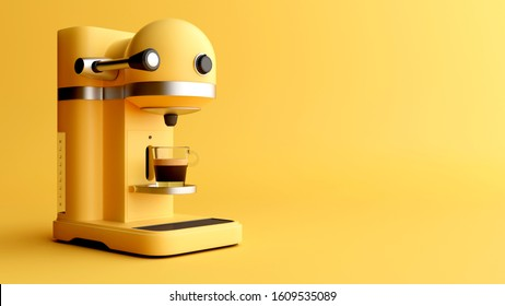 Coffee machine minimal style illustration isolated in studio. 3d render