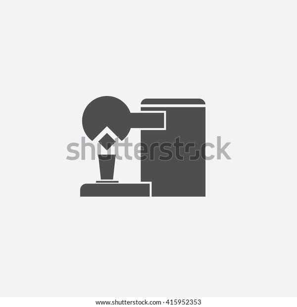 Coffee Maker Flat Icon On White Stock Illustration 415952353