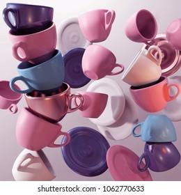 Coffee mugs. 3d. render. illustration. in motion.