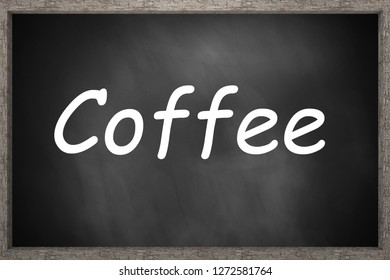 coffee on dark wooden chalkboard 3d illustration