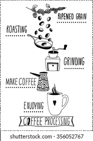 Coffee processing illustration. Hand drawn style isolated on white.
