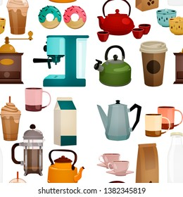 Coffee set. Coffee maker, cups, espresso, filter, coffee beans, coffee maker, milk, various coffees. Elements with caffeine. Vivid colors. Background in white. Pattern in rapport.