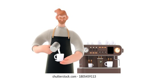 Coffee shop 3D render - barista -modern concept digital illustration of a bearded young man wearing apron pouring whipped milk into the coffee cup. Coffee machine. Creative landing web page header
