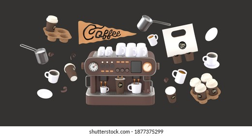 Coffee shop 3D render - coffee machine -modern concept digital illustration of a coffee maker with cups on the top, surrounded by takeout coffee packs and cups. Creative landing web page header