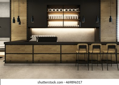 Coffee Shop cafe Loft & Modern - 3D render