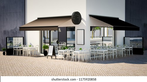 coffee shop facade mockup 3d rendering