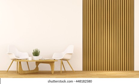 Coffee shop or Living room clean design - 3D Rendering