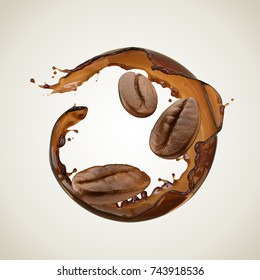 Coffee splash in round shape, Coffee bean, isolated design element with Clipping path, 3d illustration.