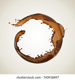 Coffee splash in round shape, isolated design element with Clipping path, 3d illustration.