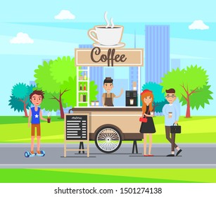 Coffee stop city street in park with students buying drinks raster. Hot beverage stall kiosk with barista and teenager customers, cityscape and town