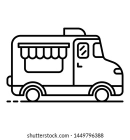 Coffee street truck icon. Outline coffee street truck icon for web design isolated on white background